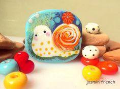 jasmin french ' snail ' lampwork focal bead glass art