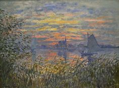 Claude Monet - Marine view with a sunset (1875)