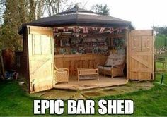 Funny pictures about Amazing Bar Shed. Oh, and cool pics about Amazing Bar Shed. Also, Amazing Bar Shed. Future House, Casa Magnolia, Outdoor Spaces, Outdoor Living, Outdoor Kitchens, Bar Deco, Pub Sheds, Balkon Design, Backyard Bar