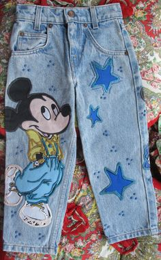 80s Mickey Mouse Jeans....I had same jeans as a kid..these might be my old pair...How weird is that.. lol... By KathyJo