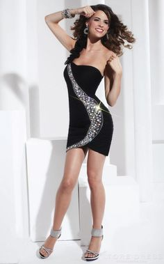 Sparkly One-shoulder Beading Homecoming Dress $431.99