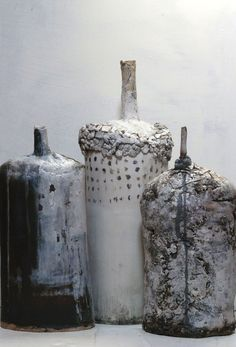 relic bottles~Brenda Holzke Want to try something like this in Raku Ceramic Clay, Ceramic Vase, Ceramic Pottery, Modern Ceramics, Contemporary Ceramics, Paperclay, Ceramic Design, Diy Clay, Clay Pots