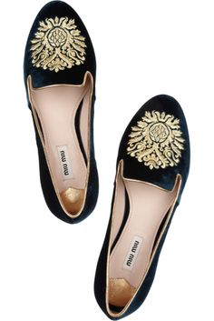 Miu Miu velvet smoking slippers