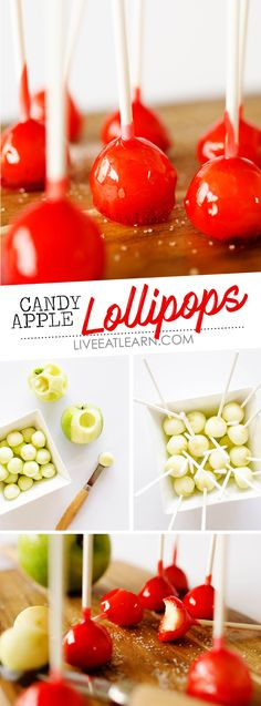 This Candy Apple Lollipops recipe has a crunchy candy coating with crisp Granny Smith apple on the insides. They're a bite-sized treat idea that need to be on your menu this fall, for your holiday get togethers, halloween party, or family fall celebrations. // Live Eat Learn