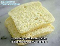 Recette du pain sans gluten rapide à faire (90 secondes au micro-ondes), sans lactose avec lait d'amande, de riz ou de soja.