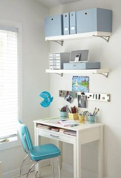 cute little office space with turquoise retro chair.