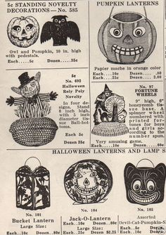 "Vintage Ephemera: Halloween Shackman Co. Catalog Page. ""Lanterns, Halloween Novelties, Fortune Wheels"" for sale. Retro Halloween, Vintage Halloween Images, Vintage Halloween Decorations, Vintage Holiday, Holidays Halloween, Spooky Halloween, Halloween Crafts, Happy Halloween, Witches"