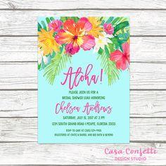 Luau Bridal Shower Invitation Tropical Bridal Shower