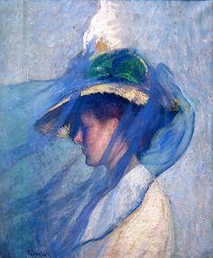 'The Blue Veil' by Edmund Charles Tarbell