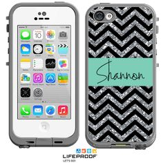Glitter Chevron Monogrammed LifeProof® frē iPhone 5c Case, Personalized Waterproof Cases by Boutique Me