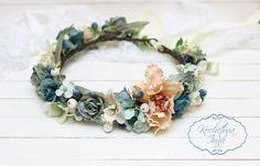 Turquoise Blue Beige  floral crown Flower by ByKochetova on Etsy