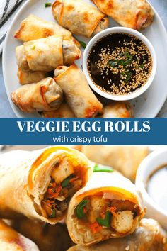 Veggie Egg Rolls with Crispy Tofu - Pinch Me Good Egg Rolls Baked, Veggie Egg Rolls, Vegetarian Egg Rolls, Vegetarian Wonton, Vegetarian Recipes Easy, Vegan Egg, Vegetarian Lunch, Raw Vegan, Healthy Recipes