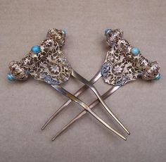 Antique Hair Combs Victorian Matched Pair Gilt Metal Faux Turquoise from spanishcomb on Ruby Lane