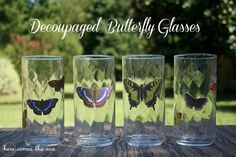 How to Make Decoupaged  Glasses - they are even top rack dishwasher safe! #marthadecoupage