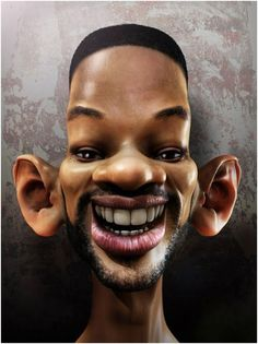 This is a known as a Caricature of Will Smith. Will is known for having big ears and a elongated head shaped. Caricatures exaggerate certain features to the extreme. Cartoon Faces, Cartoon Art, Cartoon Characters, Caricature Artist, Caricature Drawing, Drawing Art, Funny Caricatures, Celebrity Caricatures, Celebrity Drawings