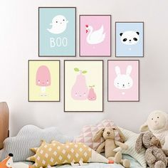 Kawaii Animal Panda Poster Print Modern Nordic Cartoon Nursery Wall Art Picture Kids Baby Room Decor Canvas Painting No Frame
