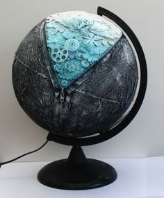 Pojjo s Gallery A globe Globe Projects, Globe Crafts, Art Projects, Globe Art, Map Globe, Mixed Media Collage, Mixed Media Canvas, Painted Globe, Steampunk