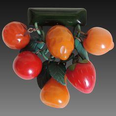 Bakelite Fruit Pin Brooch Dangly Carved c1940's : What Was is Vintage | Ruby Lane