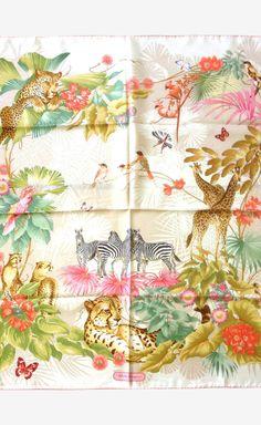 823f9e669e3 Salvatore Ferragamo Multicolor Wild Life Silk Twill 35