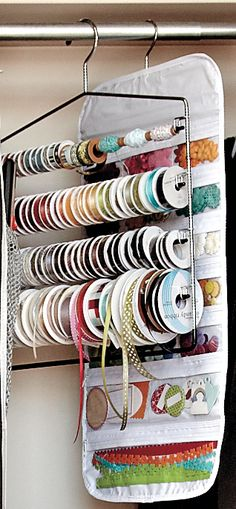 Just One Tip: Using clothing hangers for craft storage | Craft Storage Ideas