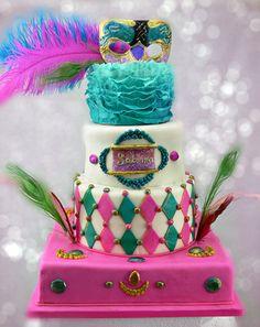 Found on babushka bakery - Sabrina pink and teal masquerade