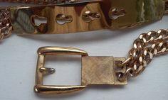 70s GOLDEN CHAIN BELTMetal Buckle Clasp by VINTAGELOVERGIRL