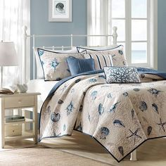 Beach House Bedroom with Madison Park Nantucket Coverlet Set