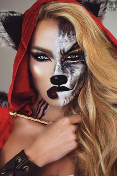 Are you looking for inspiration for your Halloween make-up? Browse around this site for creepy Halloween makeup looks. Halloween Cosplay, Scary Halloween, Halloween Halloween, Group Halloween, Toddler Halloween, Wolf Make Up Halloween, Halloween Costume Makeup, Disney Halloween Makeup, Haloween Makeup