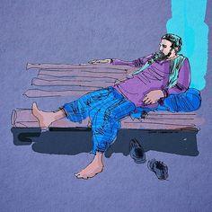 #afternoon #break #sketch #illustration