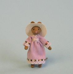 Miniature dressed mouse lady for 1/4 or doll by PamelaJunksMinis, $28.00