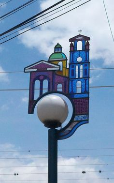 street-lamp with stained glass surround.