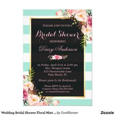 Wedding Bridal Shower Floral Mint Green Stripes Invitation