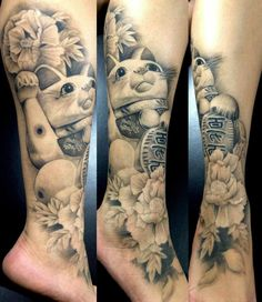 maneki neko tattoo black and grey