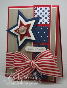 handmade Fourth of July card ... or Memorial Day or Veteran's Day ... patriotic theme like the column of inchies in patterned paper ... die cut star with red, white and blue layers ...  great card!!