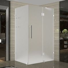 Aston Avalux GS x x Completely Frameless Hinged Shower Enclosure with Shelves, Frosted Glass Finish: Oil Rubbed Bronze Door Installation, Glass Shelving Unit, Bathroom Style, Glass Shelves, Frameless Shower Enclosures, Frameless Shower, Frameless Shower Doors, Glass Door, Bathroom Layout