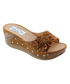 Another great find on #zulily! Camel Flower Wedge Sandal #zulilyfinds