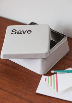 CTRL+S Container. You back up your digital data with a few simple keystrokes, so do the same for incoming hard copies with this save-button-shaped container! #white #modcloth
