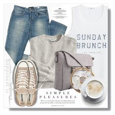 """Sunday:)"" by myfashionwardrobestyle ❤ liked on Polyvore featuring MANGO, Mossimo and Converse"