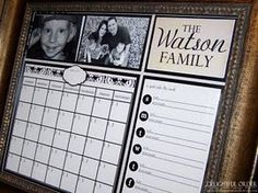 family calendar.  it's just a print under a glasss photo frame, then write on the glass as if it's a dry erase board