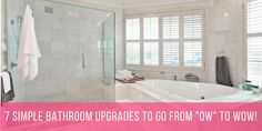 7 Simple Bathroom Upgrades To Go From OW To WOW! Ready to Upgrade your Bathroom Decor and Create the luxurious space you have been craving for? Read on. Bad Inspiration, Bathroom Inspiration, Simple Bathroom, Modern Bathroom, Master Bathroom, Douche Design, White Marble Bathrooms, Bathroom Tile Designs, Bathroom Ideas