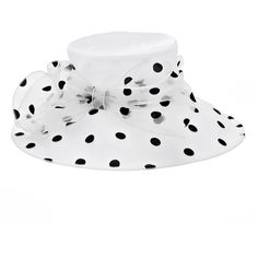 Women's Polka-Dot Bow Wide Brim Hat ($38) ❤ liked on Polyvore featuring accessories, hats, white, polka dot hat, white wide brim hat, bow hat, white brim hat and brimmed hat