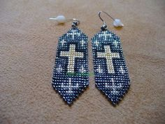 Native American style loom beaded cross earrings in by DebsVisions