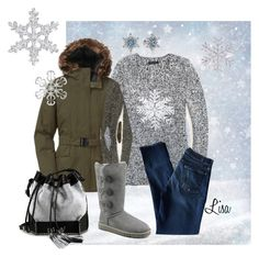 """""""It's Finally SNOWING"""" by coolmommy44 ❤ liked on Polyvore featuring The North Face, Tommy Hilfiger, 7 For All Mankind, UGG Australia, Carianne Moore and Pandora"""