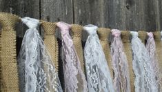 These country, rustic but shabby chic burlap and lace garlands can be used at barn weddings, picnics, bridal showers, baby showers, wedding