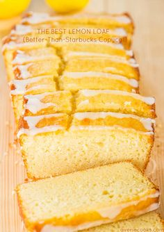 The Best Lemon Loaf (Better-Than-Starbucks Copycat Das beste Zitronenbrot (Better-Than-Starbucks Copycat) Food Cakes, Cupcake Cakes, Just Desserts, Delicious Desserts, Dessert Recipes, Easy Lemon Desserts, Recipes With Lemon, Dessert Ideas, Lemon Pudding Recipes