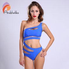 2016 Sexy D'une Seule Pièce Maillot de Bain Bandage Pour Femmes Solide Blanc et Bleu Une épaule Détouré Monokini Maillots De Bain Maillot de bain body