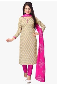Joctoc Women s Cream And Pink Poly Cotton Dress Material Febric  Poly  Cotton Color  Cream   Pink Design - PRINTED Unstitch Dress Material Length  -Top  2 ... 88fde9d084658