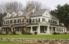Beautiful Stone Farmhouse...2 houses or 1? Lol the exterior material needs to be consistent throughout