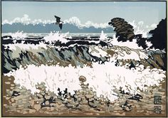 """Big Surf at Llangrannog"" linocut by Ian Phillips. http://www.reliefprint.co.uk/ Tags: Linocut, Cut, Print, Linoleum, Lino, Carving, Block, Woodcut, Helen Elstone, Wales, Welsh, Cymru, Sea, Ocean, Waves, Beach, Gull, Birds, Rocks, Sky."