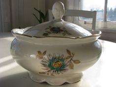 Vintage Bareuther covered porcelain serving at VolvoxVintageShop on Etsy.
